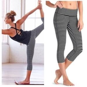 Athleta Black & White Striped Cropped Leggings